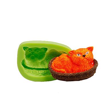 고양이 바구니에 낮잠 실리콘 곰팡이 퐁당 케이크 장식 도구 폴리머 점토 fimo 만들기 색상 무작위