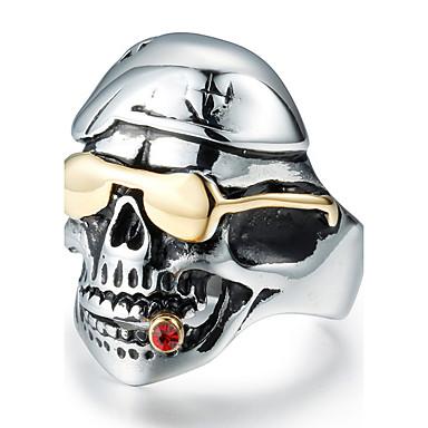 문자 반지 지르콘 티타늄 스틸 Skull shape 패션 빈티지 개인 실버 보석류 일상 캐쥬얼 1PC