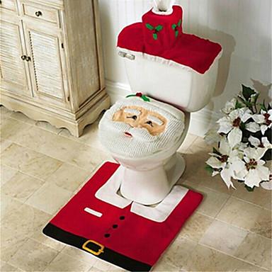 ieftine Decorațiuni de Casă-santa om de zăpadă cerb spiritul de toaletă acoperă scaun covor set baie cu prosop de hârtie acoperi pentru cadou de Crăciun nou decoratiuni de origine ani