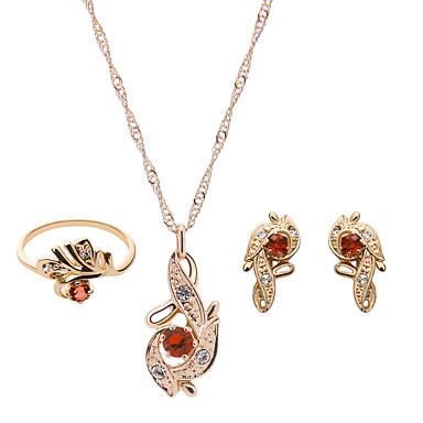 Damskie Biżuteria Ustaw - Kryształ górski, Pokryte różowym złotem Modny Zawierać Czerwony / Różowy Na Ślub / Impreza / Pierścionki / Náušnice / Naszyjniki