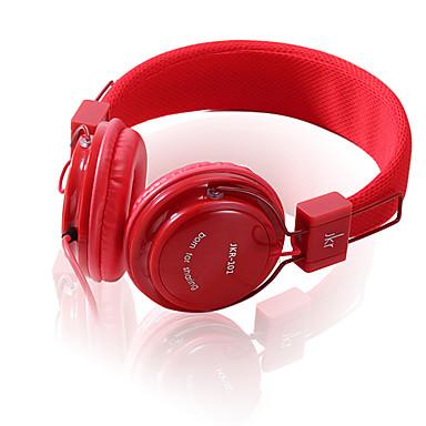 JKR JKR-101 귀에 머리띠 유선 헤드폰 동적 플라스틱 모바일폰 이어폰 볼륨 컨트롤 소음 차단 마이크 포함 헤드폰