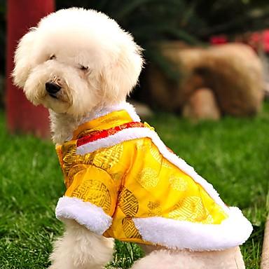 고양이 강아지 코트 맨투맨 스웻티셔츠 강아지 의류 자수장식 옐로우 레드 폴라 플리스 면 코스츔 애완 동물 남성용 여성용 패션 새해