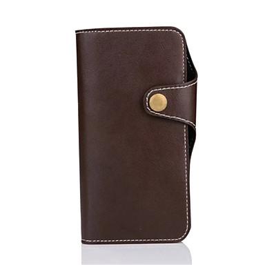 Mert iPhone 7 tok / iPhone 6 tok / iPhone 5 tok Pénztárca / Kártyatartó Case Teljes védelem Case Egyszínű Kemény Valódi bőr AppleiPhone 7