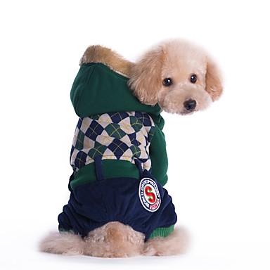 Χαμηλού Κόστους Ρούχα και αξεσουάρ για σκύλους-Γάτα Σκύλος Παλτά Φόρμες Ρούχα για σκύλους Βρετανικό Κόκκινο Πράσινο Κοτλέ Βαμβάκι Στολές Για Άνοιξη & Χειμώνας Χειμώνας Ανδρικά Γυναικεία Καθημερινά Διατηρείτε Ζεστό Μοντέρνα