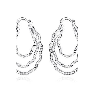 Damskie Kolczyki koła Modny Europejski Srebro standardowe Posrebrzany Circle Shape Biżuteria Impreza Codzienny Casual Sport Biżuteria