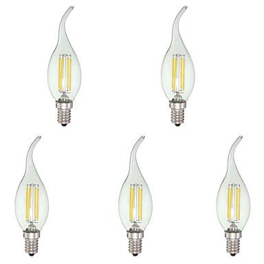 4W E12 LED gyertyaizzók C35 4 led COB Tompítható Hideg fehér 400lm 6000K AC 110-130V