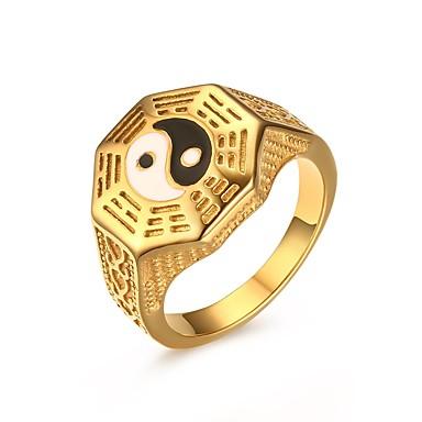 בגדי ריקוד גברים טבעת הטבעת טבעת החותם פלדת על חלד מותאם אישית פאנק אופנתי Fashion Ring תכשיטים מוזהב עבור Party יומי קזו'אל 7 / 8 / 9 / 10 / 11