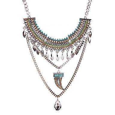 Női Nyaklánc medálok Nyilatkozat nyakláncok Drágakő Ezüstözött Ötvözet Lógó Személyre szabott nyilatkozat ékszerek Divat Ezüst Ékszerek