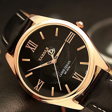 YAZOLE 남성용 석영 손목 시계 / 캐쥬얼 시계 PU 밴드 캐쥬얼 패션 멋진 블랙 브라운