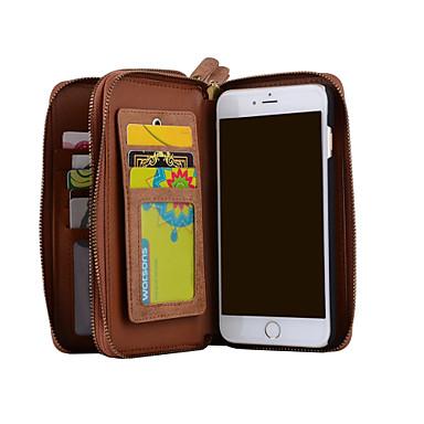 Case Kompatibilitás Apple iPhone 8 iPhone 8 Plus iPhone 6 iPhone 7 Kártyatartó Pénztárca Flip Héjtok Egyszínű Kemény Valódi bőr mert