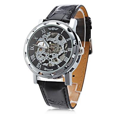 Χαμηλού Κόστους Ανδρικά ρολόγια-WINNER Ανδρικά Διάφανο Ρολόι Ρολόι Καρπού μηχανικό ρολόι Μηχανικό κούρδισμα Συνθετικό δέρμα με επένδυση Μαύρο Εσωτερικού Μηχανισμού Απίθανο Αναλογικό Χρυσό Τριανταφυλλί Μαύρο / Ασημί Άσπρο / Ασημί