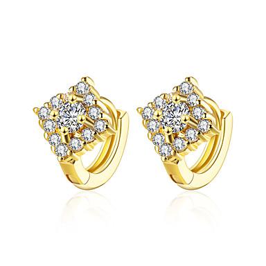 Kolczyki koła Cyrkonia Cyrkon Miedź Gold Biżuteria Na Codzienny Casual 1 para