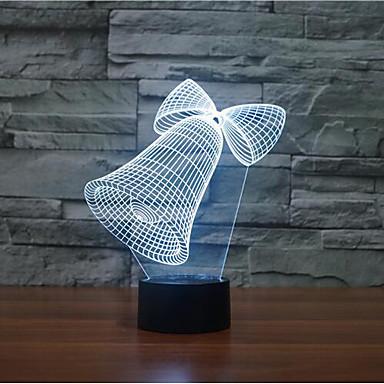 크리스마스 벨은 3 차원지도 디밍 터치 야간 조명 7colorful 장식 분위기 램프 참신 조명 크리스마스 조명