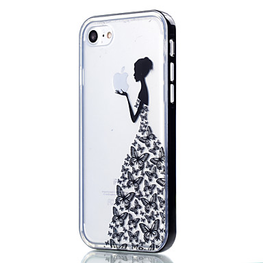 Case Kompatibilitás Apple iPhone 5 tok iPhone 6 iPhone 7 Átlátszó Minta Fekete tok Pillangó Puha TPU mert iPhone 7 Plus iPhone 7 iPhone
