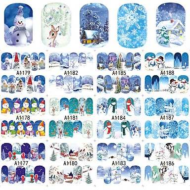 12Designs/set 네일 데칼 / 크리스마스 물 이동 스티커 / 크리스마스 장식품 / 네일 스티커 스티커