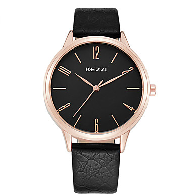 preiswerte Damen Uhren-KEZZI Paar Uhr Armbanduhr Quartz Leder Schwarz / Weiß / Braun Armbanduhren für den Alltag Cool Analog Klassisch Freizeit Modisch Weiß Schwarz Braun