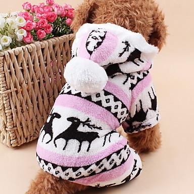 Gato Cachorro Camisola com Capuz Macacão Pijamas Roupas para Cães Rena Cinzento Marron Azul Rosa claro Lã Polar Ocasiões Especiais Para