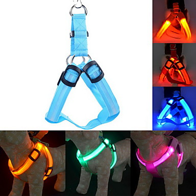 Kedi / Köpek Koşum Takımı / Tasma Kayışı / Eğitim LED Işıklar / Ayarlanabilir / İçeri Çekilebilir Solid Naylon Mavi / Pembe / Koyu Kırmızı