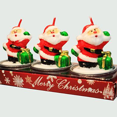 karácsonyi gyertya aranyos mikulás alakú 3db