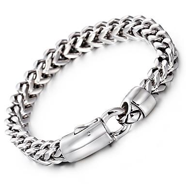 voordelige Heren Armband-Heren Armbanden met ketting en sluiting Modieus Roestvast staal Armband sieraden Zilver Voor Feest Vuosipäivä Verjaardag Onnea valmistuminen Lahja