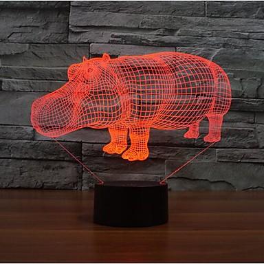 코뿔소는 차원이 주도 디밍 터치 야간 조명 7colorful 장식 분위기 램프 참신 조명 크리스마스 조명