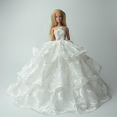 웨딩 드레스 에 대한 바비 인형 레이스 Organza 드레스 에 대한 여자의 인형 장난감