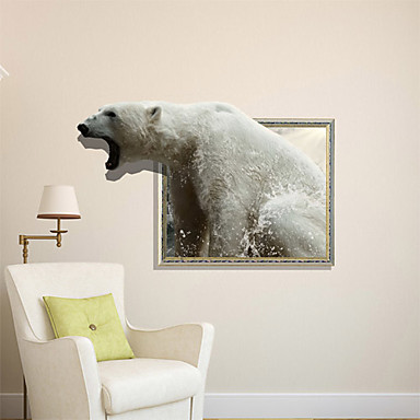 3D 벽 스티커 바다 사자 구멍 PVC 소재 장식 피부 벽 스티커 곰