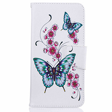Case For Apple iPhone 5 Case iPhone 6 iPhone 7 Card Holder with Stand Flip Pattern Full Body Cases Butterfly Hard PU Leather for iPhone 7