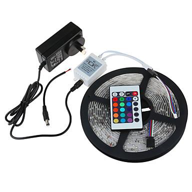 5m smd3528 rgb vízálló 24keys ir távirányító 2a teljesítmény 300 led IP65 LED csík fény (DC12V)