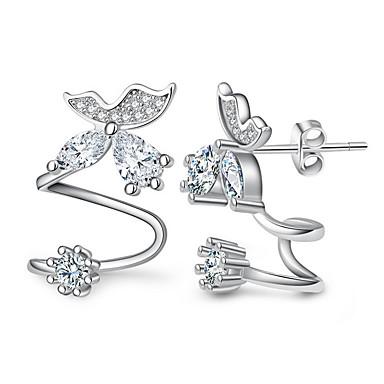 Women S Crystal Synthetic Diamond Stud Earrings Clip Sterling Silver Leaf Heart Flower