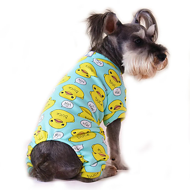 cheap Dog Clothing & Accessories-Cat Dog Jumpsuit Pajamas Dog Clothes Cartoon Blue Pink Blue-Yellow Cotton Costume For Spring &  Fall Winter Men's Women's Casual / Daily