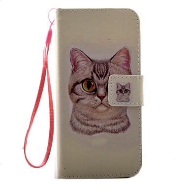 용 카드 홀더 / 플립 / 패턴 케이스 풀 바디 케이스 고양이 하드 인조 가죽 Apple 아이폰 7 플러스 / 아이폰 (7) / iPhone 6s Plus/6 Plus / iPhone 6s/6 / iPhone SE/5s/5