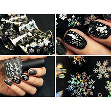 1 sheet 100cm*4cm Christmas Snowflake Holographic Nail Foils Nail