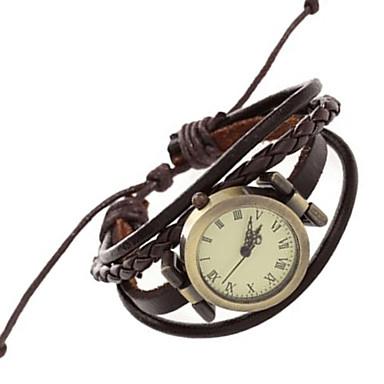 preiswerte Damen Uhren-Damen Uhr Armband-Uhr Armbanduhr Quartz Gestepptes PU - Kunstleder Braun Punk Analog Retro Freizeit Böhmische Armreif Modisch Braun / Ein Jahr / Ein Jahr