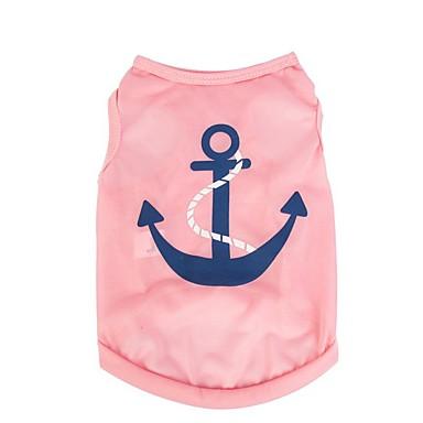 Chat Chien Tee-shirt Gilet Vêtements pour Chien Marin Rouge Rose Rose Bleu clair Térylène Costume Pour les animaux domestiques Homme Femme