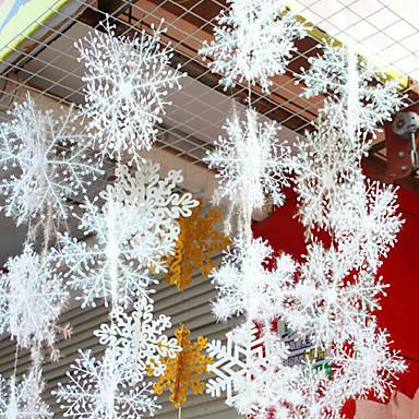 6szt Płatek śniegu Zdobienia Figurki i ozdoby na zewnątrz, Dekoracje świąteczne 28 22 14 11 8.5 6