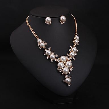 Női Ékszer készlet Nyaklánc / fülbevaló Gyöngy Hamis gyémánt Menyasszonyi Divat Esküvő Parti Napi Naušnice Nyakláncok Jelmez ékszerek