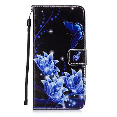 Kılıf Na Apple Etui iPhone 5 iPhone 6 iPhone 7 Etui na karty Portfel Z podpórką Flip Czarne etui Motyl Twarde Skóra PU na iPhone 7 Plus
