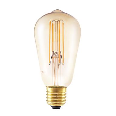 GMY® 1szt 4W 350 lm E26/E27 Żarówka dekoracyjna LED ST58 4 Diody lED COB Przysłonięcia Dekoracyjna Bursztynowy AC 220-240V