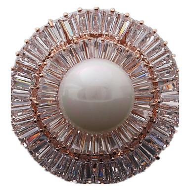 Γυναικεία Καρφίτσες Πολυτέλεια Μαργαριτάρι Ζιρκονίτης Cubic Zirconia Circle Shape Geometric Shape Χρυσό Ασημί Κοσμήματα Για Καθημερινά