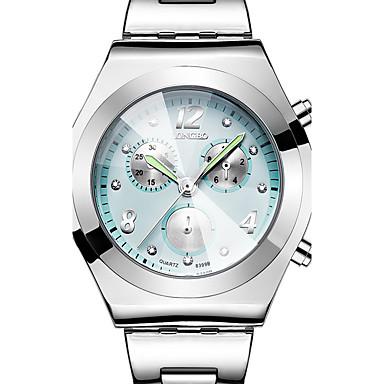 571fc0d3071 Mulheres senhoras Relógio de Pulso Aço Inoxidável Prata 30 m Impermeável  Três Fusos Horários Legal Analógico