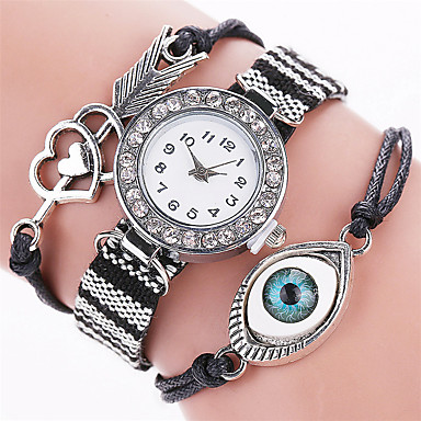 Xu™ Kadın's Bilezik Saat Moda Saat Quartz PU Bant Vintage Günlük Çizgili Siyah Beyaz Mavi Kahverengi Pembe Mor Gül