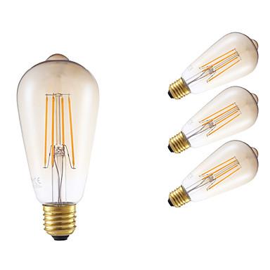 E26/E27 LED Filaman Ampuller ST64 4 led COB Kısılabilir Dekorotif Amber 350lm 2200K AC 220-240V