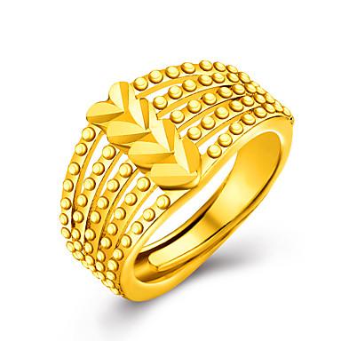 Damskie Pierścień oświadczenia - 18K Gold Plated, Pozłacane Serce, Miłość Spersonalizowane, Luksusowy Jeden rozmiar Golden Na Ślub / Impreza / Prezent