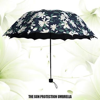 Μαύρο Αναδιπλούμενη Ομπρέλα Sunny και βροχερός Plastic Περπατούρα