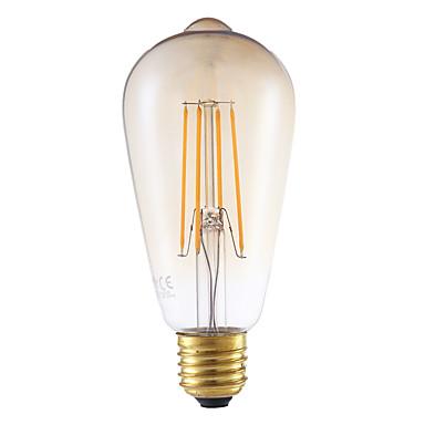 5W E26/E27 LED Filaman Ampuller ST64 4 led COB Kısılabilir Dekorotif Amber 350lm 2200K AC 220-240V