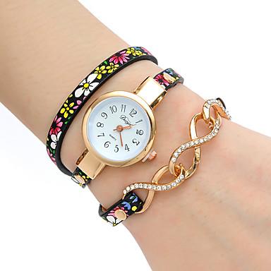 Damskie Modny Zegarek na nadgarstek Zegarek na bransoletce Kwarcowy Kolorowy PU PasmoPostarzane Kwiat Artystyczny Z Wisorkami