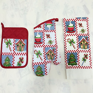 1pc Pocket Mitten, 1pc Oven Glove, 1pc Towel Textil Sütő Mitts Cake / Pizza / Csokoládé / Kenyér / Cookie / Mert Cupcake / Pie Jó minőség