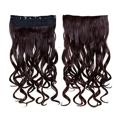 Com Presilha Extensões de cabelo humano Ondulado 1pc / Pacote 24 polegadas