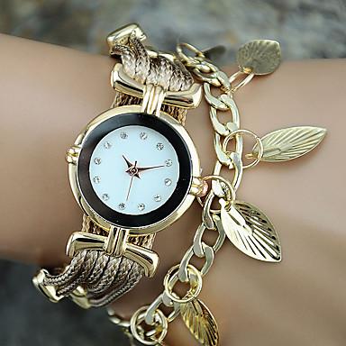 Kadın's Bilek Saati Bilezik Saat Moda Saat Quartz Renkli PU Bant İhtişam Yapraklar Vintage Günlük Bohem Havalı Halhal Mavi Kırmızı Altın
